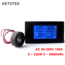 AC 80-260V 100A 4 in 1 Digital LCD Volt Amp Watt Energy Meter AC Voltmeter Ammeter with Current Transformer