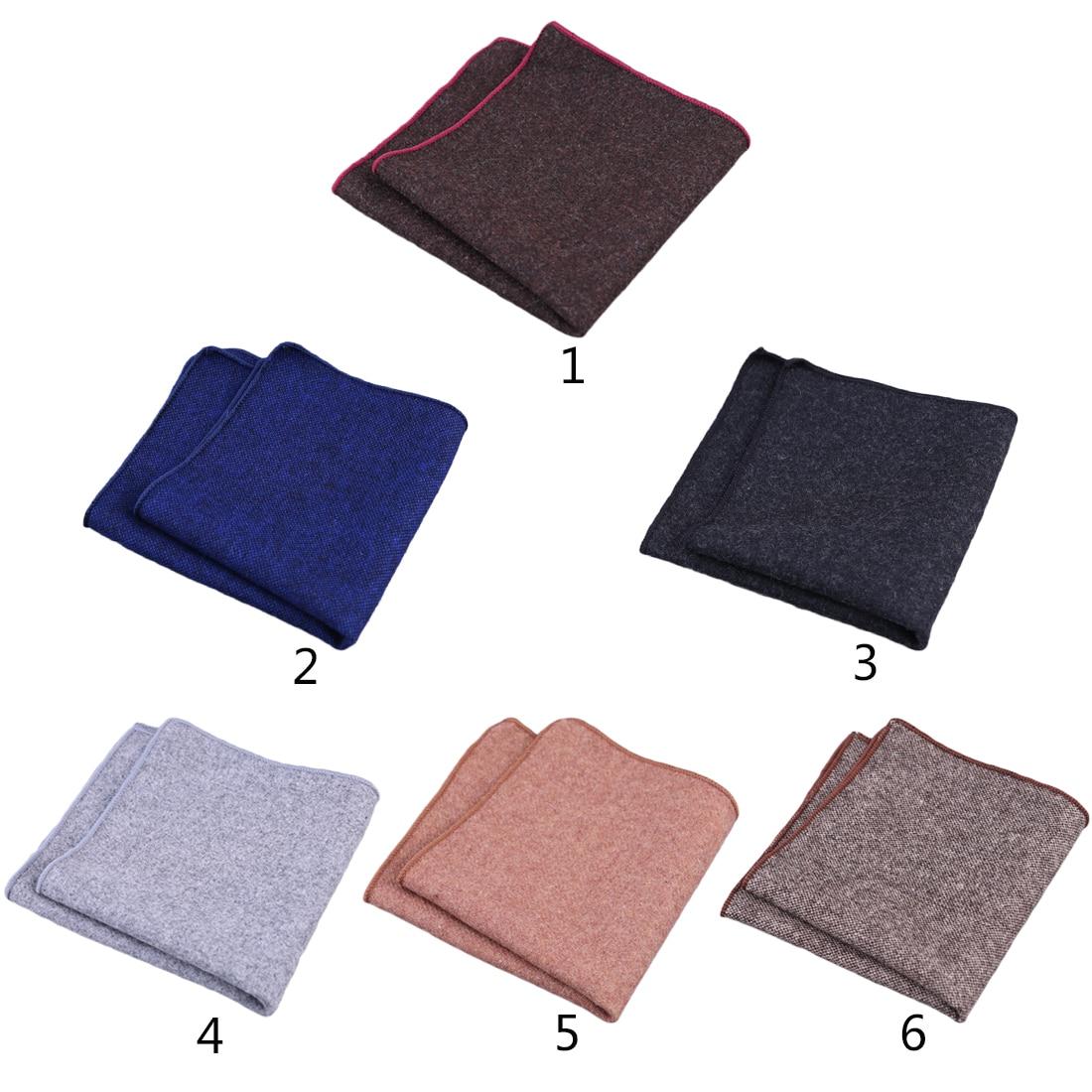 Hot Hankerchief Scarves Vintage Wool Hankies Men's Pocket Square Handkerchiefs Striped Solid Cotton 23*23cm