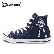 Пользовательские Ручная роспись Converse обувь череп розы высокие кроссовки синий холст уникальные рождественские подарки Для мужчин Для женщин