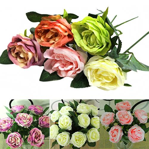 2015 Hot Sale 1 PC Artificial Silk Rose Fake Flower Leaf Bridal Bouquet Home Wedding Decor