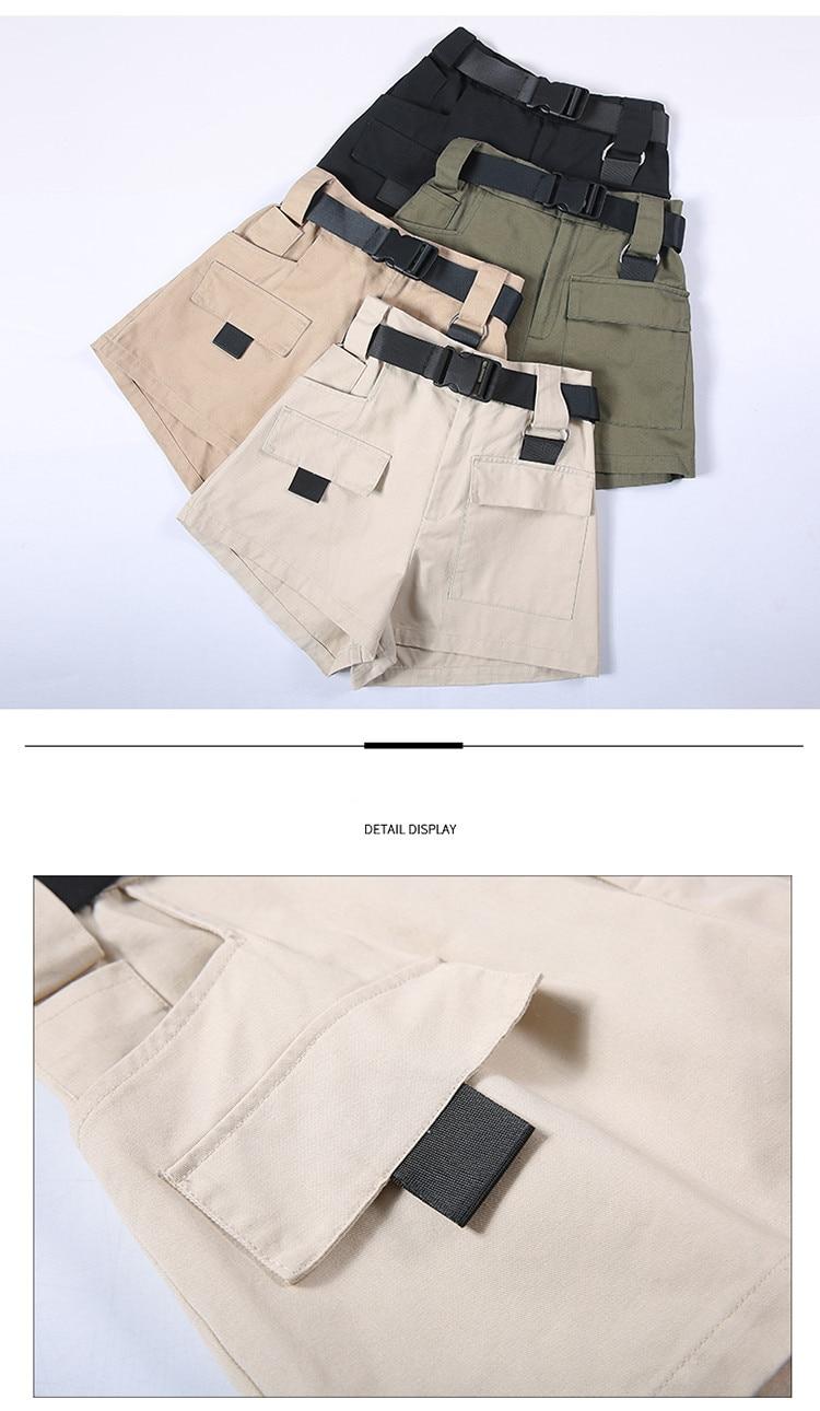 3XL Plus Size Women Summer Shorts With Belt 2019 Fashion Casual Streetwear Cargo Shorts Feminino BF Style Army Green Short Femme 39