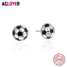 цены 2019 Football Match Fans Christmas Gifts 925 Sterling Silver Football Ball Earrings Women's Sports Fashion Jewelry