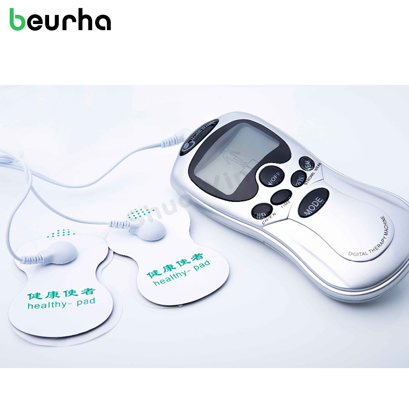 Beurha TENS Body Healthy Care Digital Meridian therapy massager machine Slim Slimming Muscle Relax Fat Burner pain 4 pad massage 8 electrode tens body massager health care muscle relax digital therapy machine meridian physiotherapy therapy sculptor