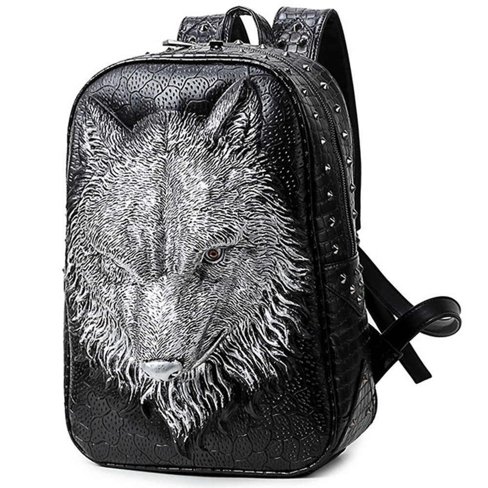 New Fashion Men Genuine Leather 3D Wolf head Backpack Male High Quality Waterproof Bagpack Laptop Messenger Travel School Bag