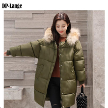 2017 Winter Jacket Women Faux Fur Collar Hooded Cotton Padded Winter Coat Women's Thick Warm Long Parkas Female manteau femme