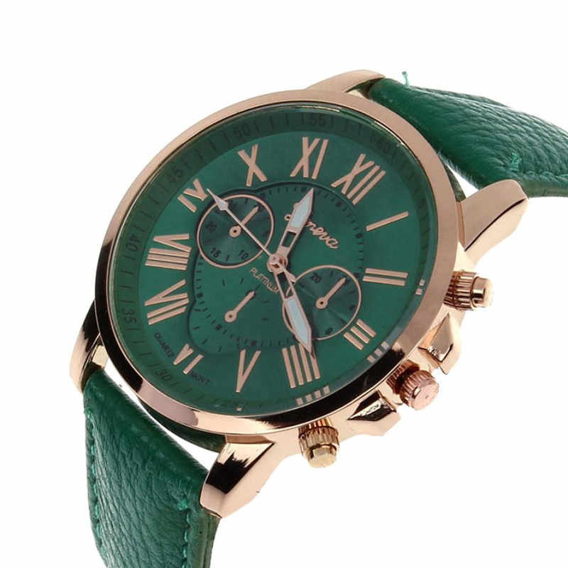 2018 New Classic Dark Green Watch Geneva Roman Numerals Faux Leather Analog Quartz Women Wrist Watches feminino Dropshipping 38