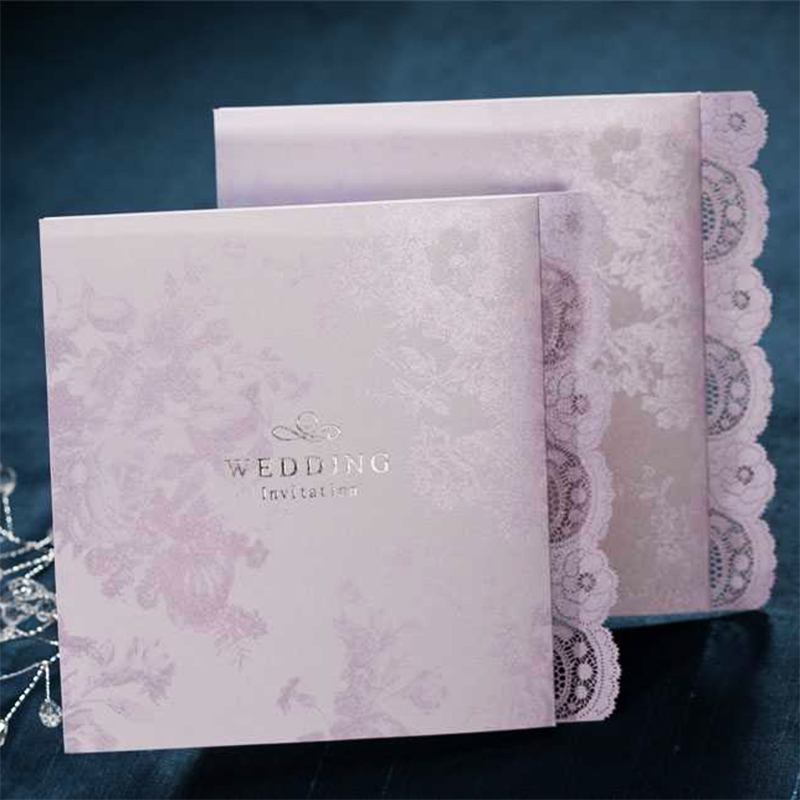 New Lace Retro Pattern Purple Wedding invitations flowers Paper Cards Print Blank Paper Card Personalise Map Post 50Set 12pcs design elegant flowers lace laser cut white invitations cards for wedding print blank paper invitation card kit convite