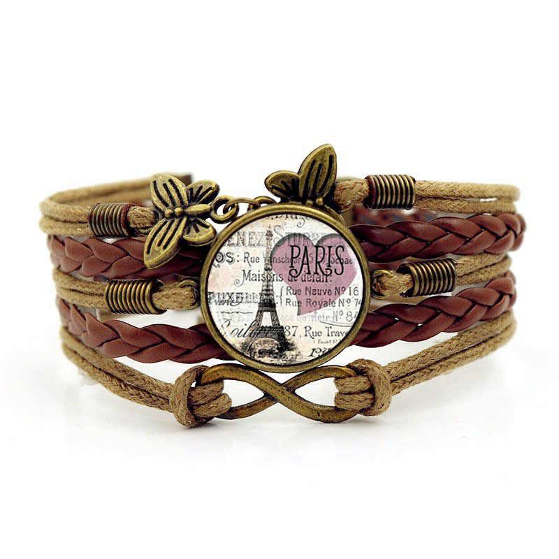Горячая 2018 Новый Париж Романтический Эйфелева башня Для мужчин браслет Время камень ткачество Браслеты для Для женщин модные кожаные браслеты