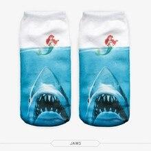 Hot Sales Summer Shark Socks Mermaid Socks Women 3D Full Printing Animal Pattern Calcetines Women Low Cut Ankle Sock Hosiery