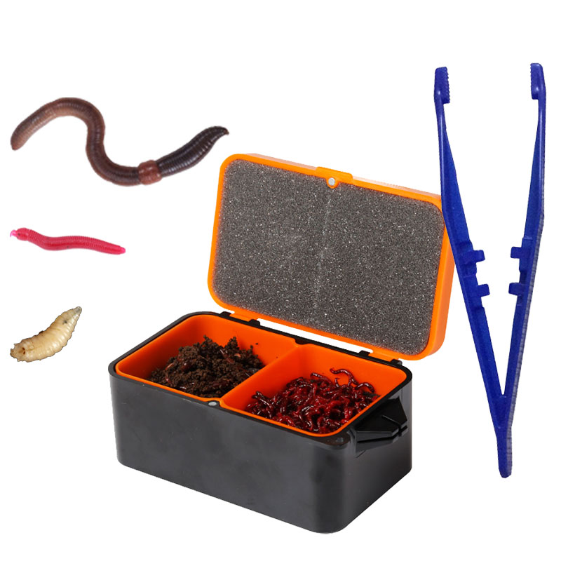 Smart Kingfisher Fishing Live Bait Maggot Redworm Earthworm Earth Red Worm Lure Storage Box Basic