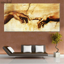 лучшая цена Canvas Painting Creation of Adam Hand of god Classical Religion Wall Pictures For Living Room Artwork Famous Art Print Posters
