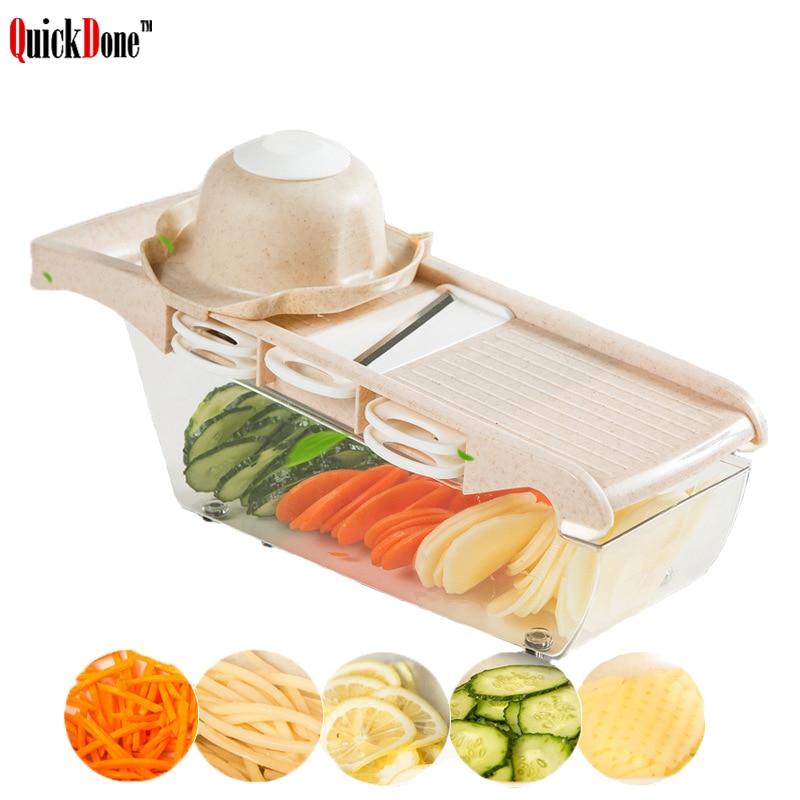 QuickDone creativo cortadora vegetal cortador de paja de trigo Rallador con hoja de acero inoxidable multifuncional de patata cortador de AKC6186