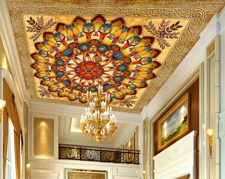 custom 3d ceiling wallpaper Wealthy yellow circle leaves 3d ceiling murals wallpapers for living room 3d photo ceiling sky ceiling wallpaper photo wallpaper for kids living room bedroom nonwoven wallpaper 3d ceiling murals wallpaper