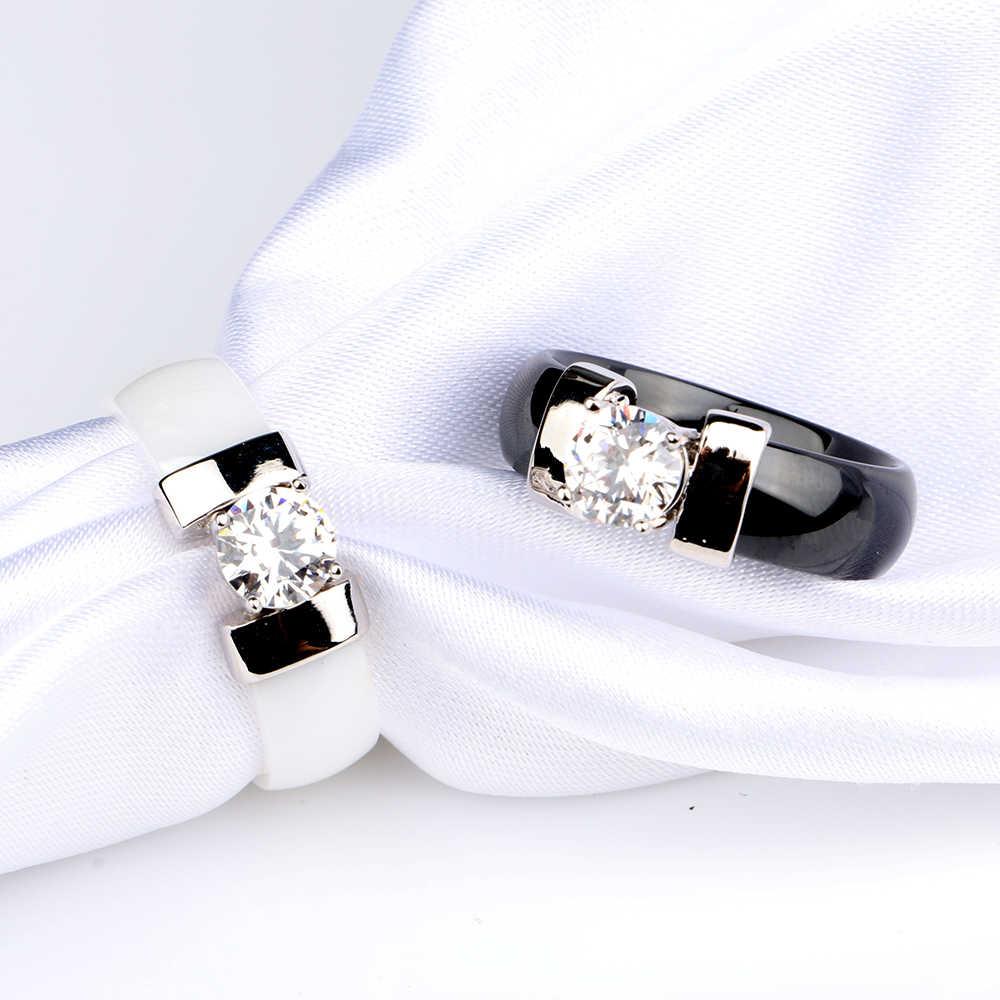 ใหม่สีดำเซรามิคงานแต่งงานแหวนกว้าง 6 มม. สีขาว Bling Plus Cubic Zirconia สำหรับสุภาพสตรีประณีต Cabochon Smooth หมั้นแหวนผู้ชาย