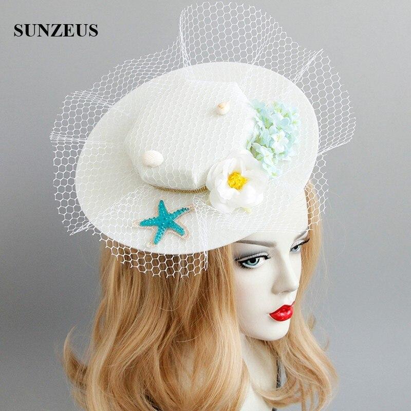 Starfish Flowers Bridal Hats Romantic Beach Tulle Headwear 2018 New Fashion Hat For Photography FJ-181