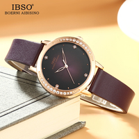 IBSO Brand Women Watches 2018 Genuine Leather Strap And Stainless Steel Strap Quartz Watch Women Crystal Diamond Montre Femme