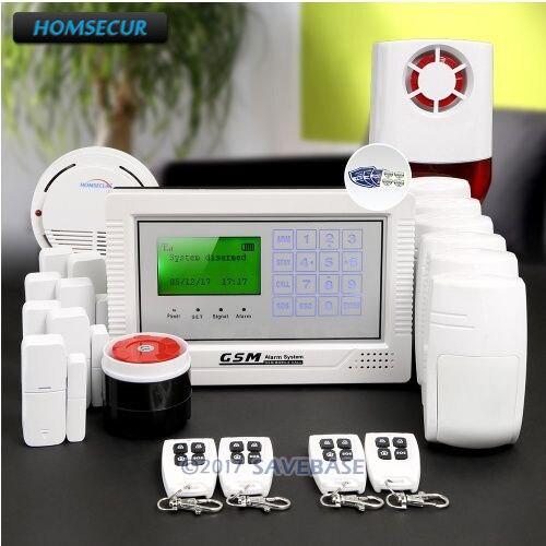 HOMSECUR Беспроводной GSM ЖК-дисплей охранной сигнализации Системы с 6 животное PIR Сенсор и Беспроводной Вспышка Сирена + IOS /Android APP