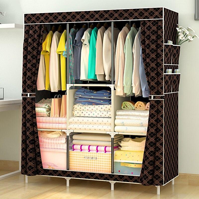 Bricolage vêtement en tissu non tissé grande armoire tissu placard Portable pliant étanche à la poussière vêtements armoire de rangement meubles de maison