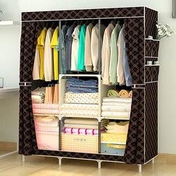 Diy não-tecido de pano grande armário de tecido de guarda-roupa portátil dobrável à prova de poeira à prova de água armário de armazenamento de roupas móveis para casa