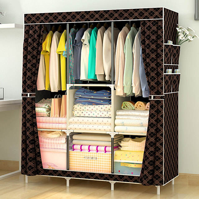 Non-woven Large Wardrobe Coffee Fabric Closet Portable Folding Dust-proof Waterproof Storage Cabinet Home Furniture 1