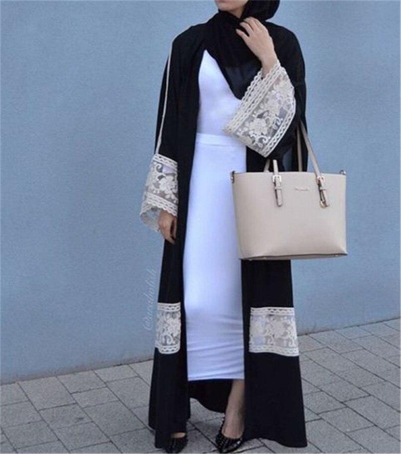 Mode noir et blanc dentelle caftan Robes longueur de plancher taille lâche robe de femmes musulmanes décontracté arabie musulmane dames vêtement extérieur robe