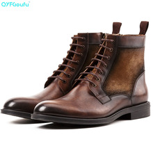 Ankle Boots Men Genuine Leather Front Shoes Vintage Brogues Splice Winter High Top Lace-up Chelsea
