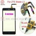 100% teste de tela de toque do painel de toque para o zte blade l3 l3 3 Versão Do Painel de vidro Digitador com Flex Cable Preto/Branco