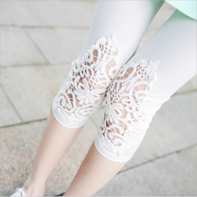 XS-7XL Plus Size Leggings Womens Summer Lace Decoration White Pink Navy Red Leggings Size 7XL 6XL 5xl 4xl 3xl S Custom Made 1