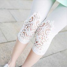 XS-7XL Plus Size Leggings Womens Summer Lace Decoration White Pink Navy Red Leggings Size 7XL 6XL 5xl 4xl 3xl S Custom Made