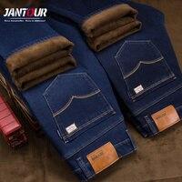Jantour Warm Jeans Men Fashion Brand Clothing Male Jeans Winter Pants Thicken Flannel Fleece Casual Trousers