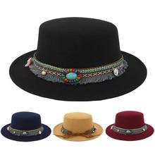 dbba70fdf5a Newsboy cap Women Wide Brim Wool Belt Felt Flat Top Fedora Hat Party Church Trilby  Hats
