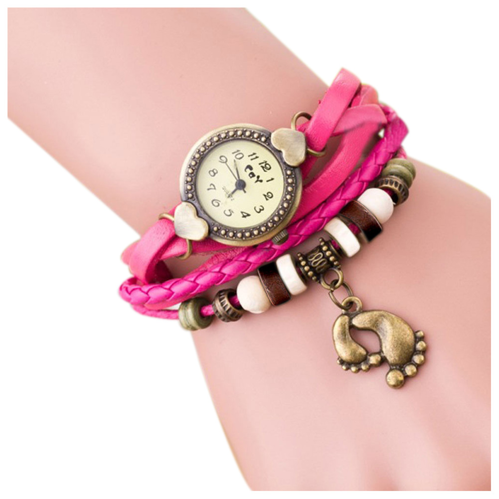 Weaving Coils Quartz Analog Vintage Leather Bracelet Ladies Watch (Feet, Pink)