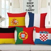 2016 European Cup/França Itália bandeira Alemanha logotipo Da Equipe da copa do mundo de fronha decorativa capas de almofadas de linho presente de fã de futebol