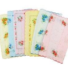 Женские винтажные носовые платки с цветочным принтом из хлопка, 12 шт