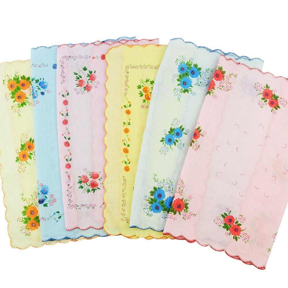 100% хлопок Цветочный принт Винтаж женские носовые платки квадратные  носовые платки 06b36b268e065