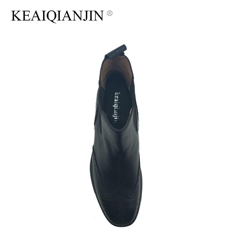 Cheville Keaiqianjin Lining Hiver 42 34 Brun En Martens Noir leather Véritable Lining Plush Taille plush Femme Bottes Cuir Automne La Lining Plus Zq0ZBTr