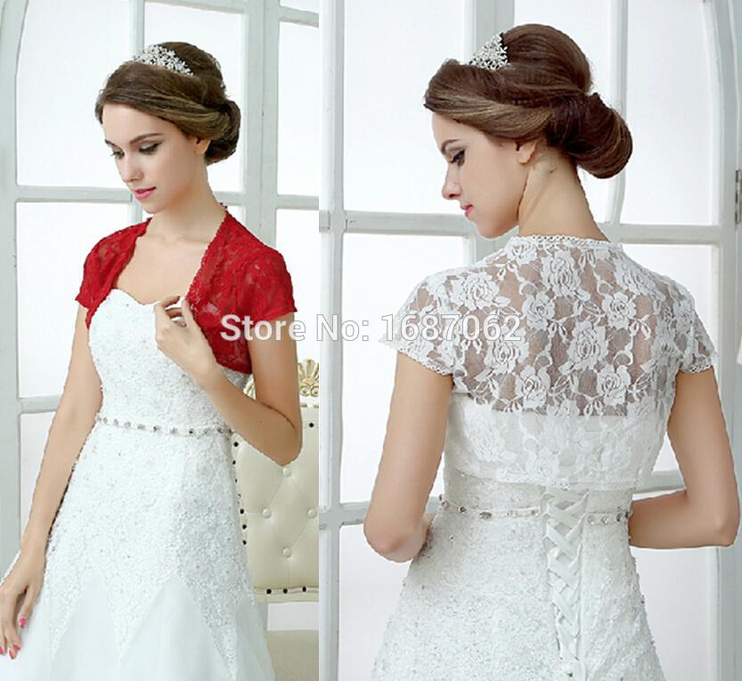 White Red Lace Wedding Wraps Shawl Boleros Shrugs Women Short Sleeve Bridal Jackets For Party Evening Prom Dresses In Wrap From Weddings