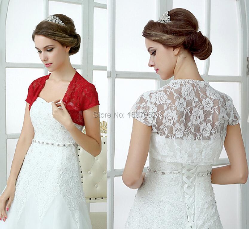 White Red Lace Wedding Wraps Shawl Boleros Shrugs Women Short Sleeve