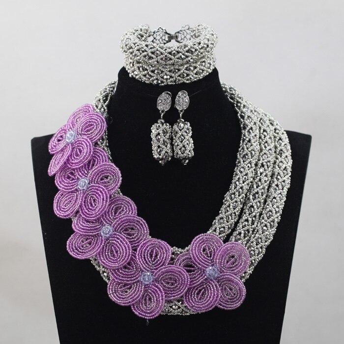 Lilas fleur broche collier ensemble argent perles de cristal africain fiançailles bijoux ensemble pour dame livraison gratuite WD865