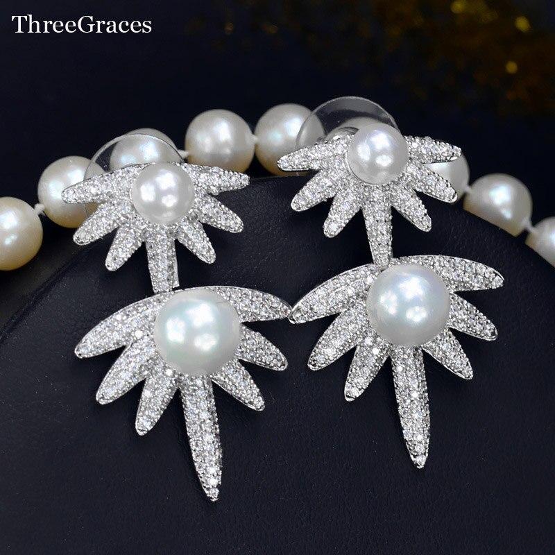 753b2f47c582 Threegraces CZ joyería nueva moda cubic zirconia micro pavimentar doble  perla plata 925 Pendientes para mujeres regalo er272