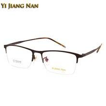 35f6934e69 Yi Jiang Nan Brand Men Top Quality Pure Titanium Light Weight Frame Half  Frame Prescription Eyeglasses Frames Transparent Lenses