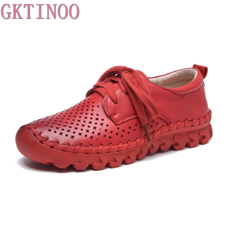 Women s Handmade Shoes Genuine Leather Flat Lacing Hollow Shoes Woman Loafers Soft Summer Autumn Casual