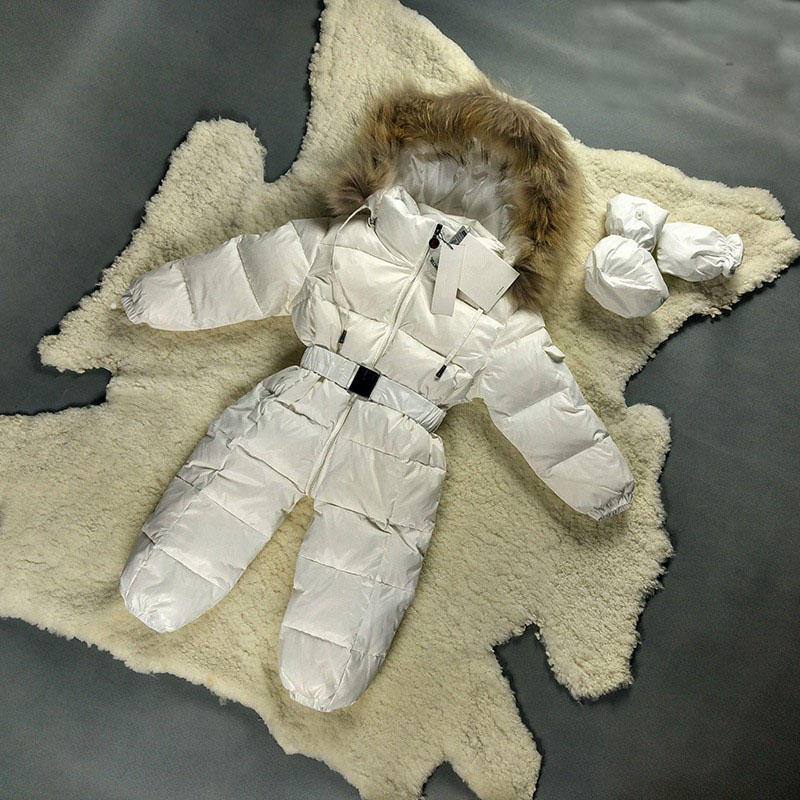 baby rompers winter natural fur kids snow wear rompers baby boy clothes newborn down jumpsuit infant girls snowsuits az341 коньки детские двухполозные novus snow baby boy aksk 17 10