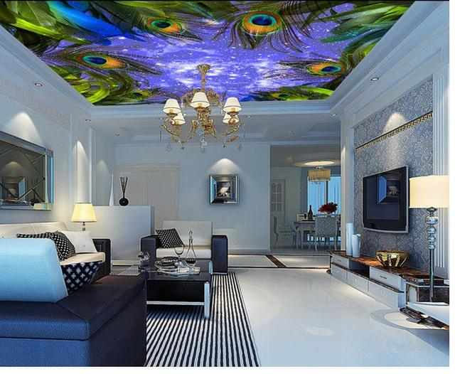 Wallpaper Murals 3d Home Decoration Colorful Peacock Feather Star Sky Background Ceiling