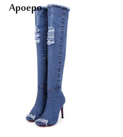 цена на Apoepo Sexy Peep Toe High Heel Boots Ripped Jeans Boots for Woman 2018 Over the knee thin heels boots gladiator sandal boots