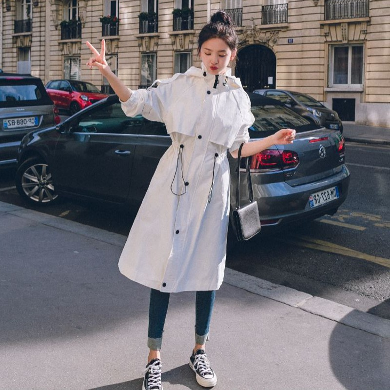 2019 New White Drawstring Hooded Windbreaker for Women New Fashion Casual Large Size Overcoat Female   Trench   Casaco Feminino