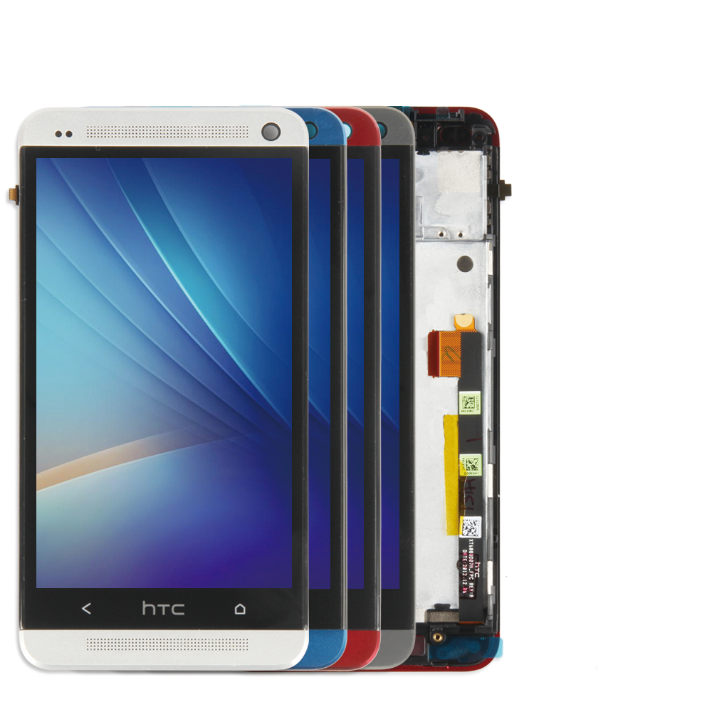 4.7'' Original Display For HTC ONE M7 LCD Touch Screen With Frame For HTC One M7 LCD Display 801e Black Red Gold Blue Silver