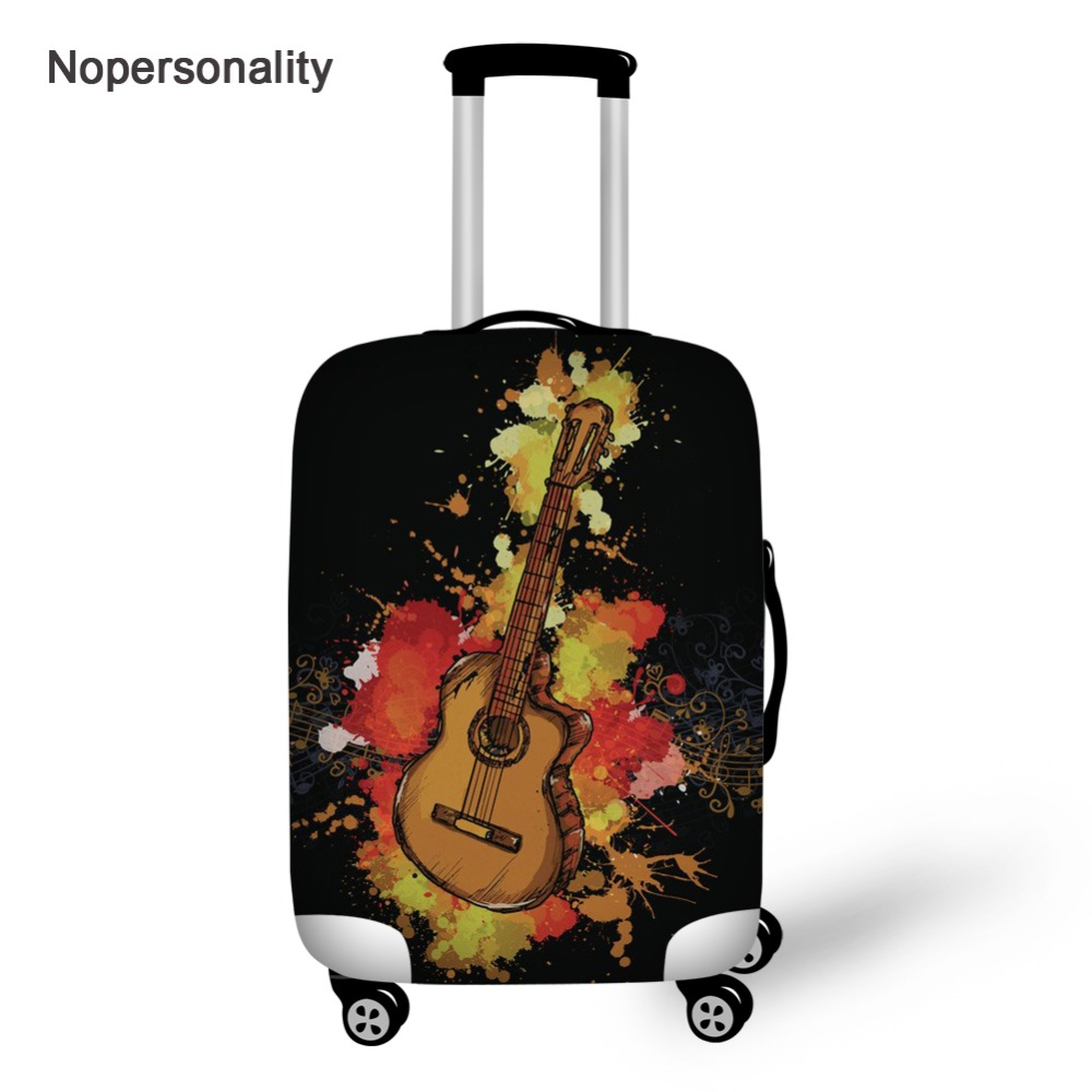 Nopersonality Elastic Guitar Music Pattern Luggage Protective Dust Cover Waterproof Travel Suitcase Cover 18-32 Baggage Cover