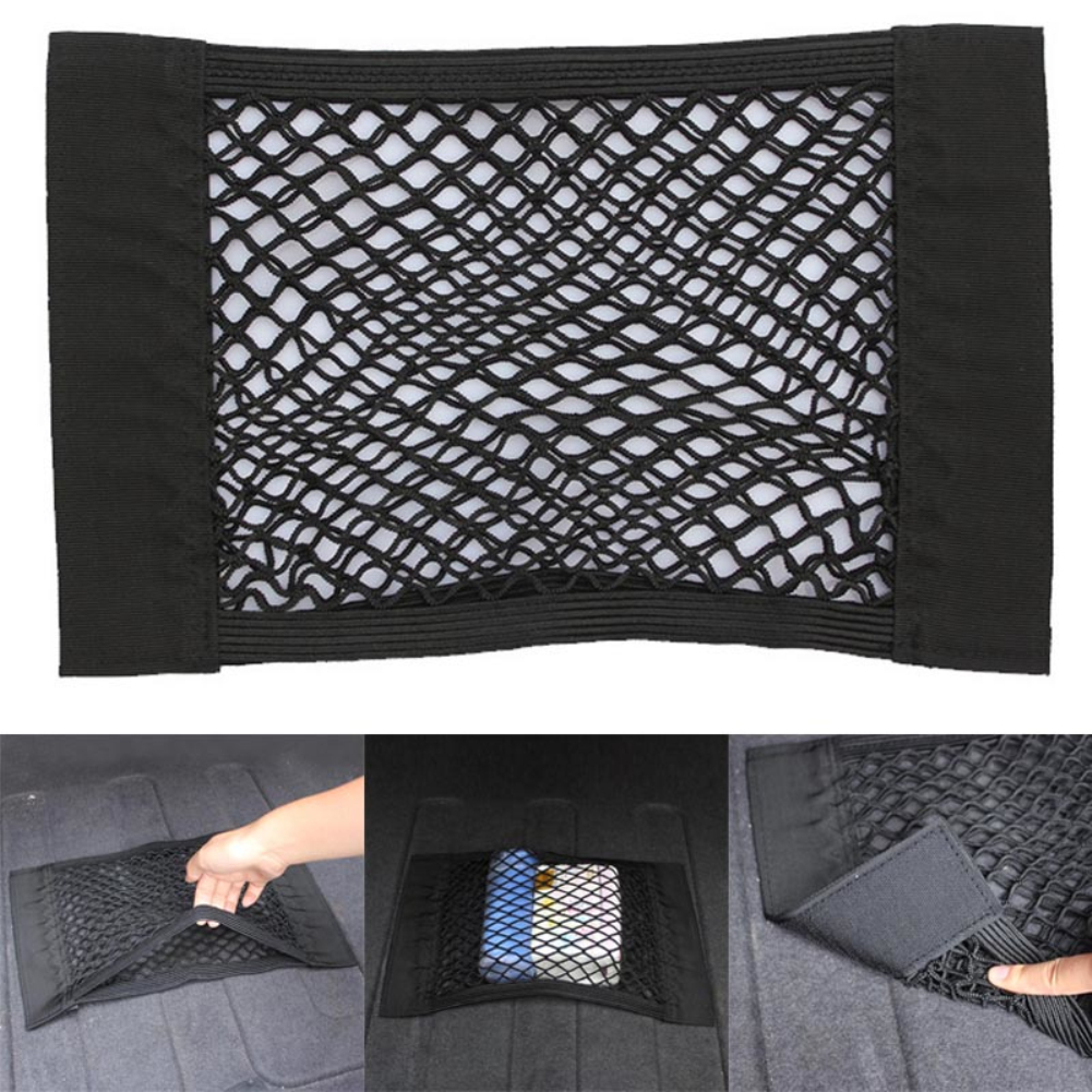 Car Trunk Box Storage Bag Mesh Net Bag Car Styling Luggage Holder Pocket Sticker Trunk Organizer Car Back Seat Organizer(China)