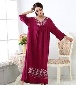Image 4 - Fdfklak M XXL plus size women sleepwear lingerie cotton sleep dress sexy long nighties for women nightgown Spring autumn
